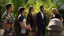 Aaron Brennan, David Tanaka, Chloe Brennan, Pierce Greyson, Claudia Watkins in Neighbours Episode 8353