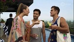 Chloe Brennan, David Tanaka, Aaron Brennan in Neighbours Episode 8355