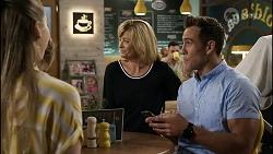 Mackenzie Hargreaves, Claudia Watkins, Aaron Brennan in Neighbours Episode 8356