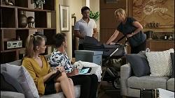 Chloe Brennan, Aaron Brennan, David Tanaka, Claudia Watkins in Neighbours Episode 8359