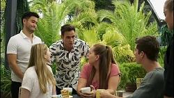 David Tanaka, Mackenzie Hargreaves, Aaron Brennan, Harlow Robinson, Hendrix Greyson, Roxy Willis in Neighbours Episode 8359