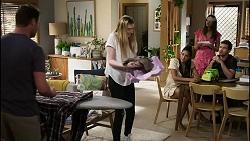 Shane Rebecchi, Mackenzie Hargreaves, Yashvi Rebecchi, Dipi Rebecchi, Ned Willis in Neighbours Episode 8360