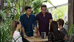 Chloe Brennan, David Tanaka, Aaron Brennan, Bea Nilsson, Susan Kennedy in Neighbours Episode 8363