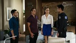 David Tanaka, Aaron Brennan, Chloe Brennan, Constable Miles Doughty in Neighbours Episode 8364