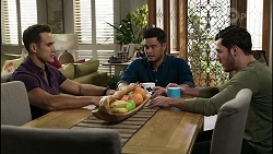 Aaron Brennan, David Tanaka, Shaun Watkins in Neighbours Episode 8365