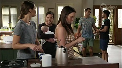 Elly Conway, Aster Conway, Shaun Watkins, Bea Nilsson, Aaron Brennan, David Tanaka in Neighbours Episode 8370
