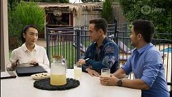 Leila Potts, Aaron Brennan, David Tanaka in Neighbours Episode 8372
