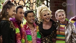 Chloe Brennan, Aaron Brennan, David Tanaka, Courtney Act, Mackenzie Hargreaves in Neighbours Episode 8379