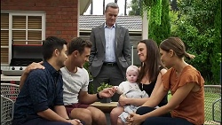 David Tanaka, Aaron Brennan, Paul Robinson, Aster Conway, Bea Nilsson, Elly Conway in Neighbours Episode 8381