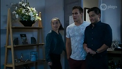 Leila Potts, Aaron Brennan, David Tanaka in Neighbours Episode 8382