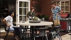 David Tanaka, Emmett Donaldson, Aaron Brennan in Neighbours Episode 8382