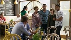 Hendrix Greyson, Harlow Robinson, Susan Kennedy, Aaron Brennan, Emmett Donaldson, David Tanaka in Neighbours Episode 8382