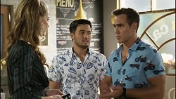 Chloe Brennan, David Tanaka, Aaron Brennan in Neighbours Episode 8383