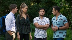 Hendrix Greyson, Chloe Brennan, David Tanaka, Aaron Brennan in Neighbours Episode 8383