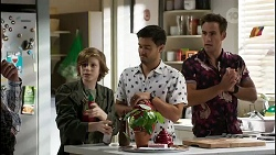 Emmett Donaldson, David Tanaka, Aaron Brennan in Neighbours Episode 8387