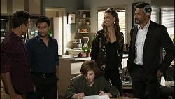Aaron Brennan, David Tanaka, Emmett Donaldson, Chloe Brennan, Pierce Greyson in Neighbours Episode 8389