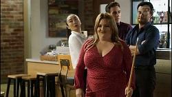 Leila Potts, Terese Willis, Aaron Brennan, David Tanaka in Neighbours Episode 8389