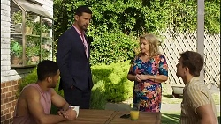 Levi Canning, Pierce Greyson, Sheila Canning, Kyle Canning in Neighbours Episode 8392