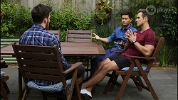 Shaun Watkins, David Tanaka, Aaron Brennan in Neighbours Episode 8394
