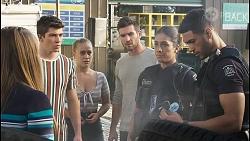 Harlow Robinson, Hendrix Greyson, Roxy Willis, Ned Willis, Yashvi Rebecchi, Levi Canning in Neighbours Episode 8399