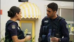 Yashvi Rebecchi, Levi Canning in Neighbours Episode 8399