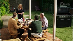 Kyle Canning, Sheila Canning, Levi Canning, Clive Gibbons in Neighbours Episode 8409