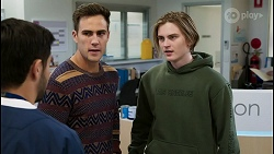 David Tanaka, Aaron Brennan, Brent Colefax in Neighbours Episode 8413