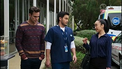 Aaron Brennan, David Tanaka, Leila Potts in Neighbours Episode 8413