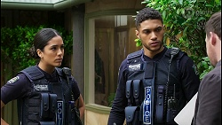 Yashvi Rebecchi, Levi Canning, Dax Braddock in Neighbours Episode 8415