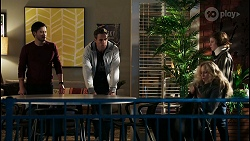 David Tanaka, Aaron Brennan, Jenna Donaldson, Emmett Donaldson in Neighbours Episode 8419