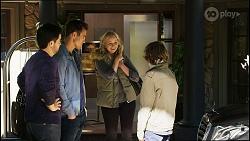 David Tanaka, Aaron Brennan, Jenna Donaldson, Emmett Donaldson in Neighbours Episode 8420