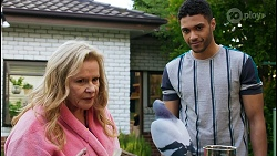 Sheila Canning, Gary the Pigeon, Levi Canning in Neighbours Episode 8422