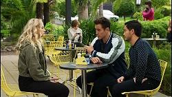 Jenna Donaldson, Emmett Donaldson, Aaron Brennan, David Tanaka in Neighbours Episode 8425