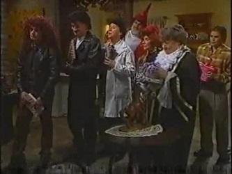 Stonie Rebecchi, Colin Taylor, Angie Rebecchi, Sam Kratz, Helen Daniels, Marlene Kratz, Joanna Hartman in Neighbours Episode 2471