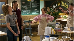 Chloe Brennan, Pierce Greyson, Susan Kennedy, Hendrix Greyson in Neighbours Episode 8456