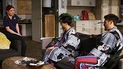 Nicolette Stone, David Tanaka, Aaron Brennan in Neighbours Episode 8461