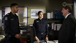 Levi Canning, Yashvi Rebecchi, Det. Bill Graves in Neighbours Episode 8471