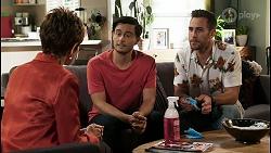 Susan Kennedy, David Tanaka, Aaron Brennan in Neighbours Episode 8475