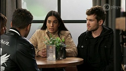 Levi Canning, Yashvi Rebecchi, Ned Willis in Neighbours Episode 8479