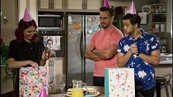 Nicolette Stone, Aaron Brennan, David Tanaka in Neighbours Episode 8481