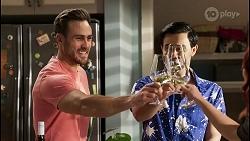 Aaron Brennan, David Tanaka, Nicolette Stone in Neighbours Episode 8482