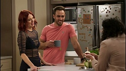 Nicolette Stone, Aaron Brennan, Audrey Hamilton in Neighbours Episode 8483