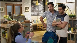 Harlow Robinson, Aaron Brennan, David Tanaka in Neighbours Episode 8487