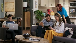 David Tanaka, Aaron Brennan, Chloe Brennan, Nicolette Stone in Neighbours Episode 8488