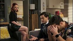 Nicolette Stone, David Tanaka, Aaron Brennan in Neighbours Episode 8490