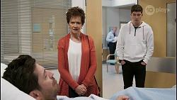 Pierce Greyson, Susan Kennedy, Hendrix Greyson in Neighbours Episode 8495