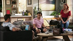 Aaron Brennan, David Tanaka, Nicolette Stone in Neighbours Episode 8495