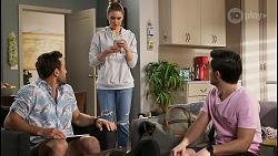 Aaron Brennan, Chloe Brennan, David Tanaka in Neighbours Episode 8495
