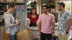 Chloe Brennan, Nicolette Stone, David Tanaka, Aaron Brennan in Neighbours Episode 8495