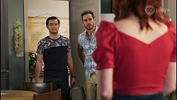 David Tanaka, Aaron Brennan, Nicolette Stone in Neighbours Episode 8495